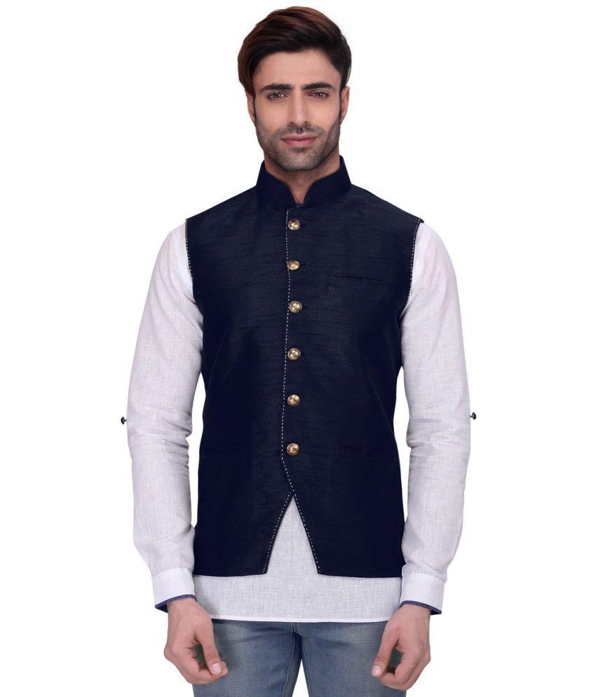 RG Designers Navy Silk Nehru Jacket