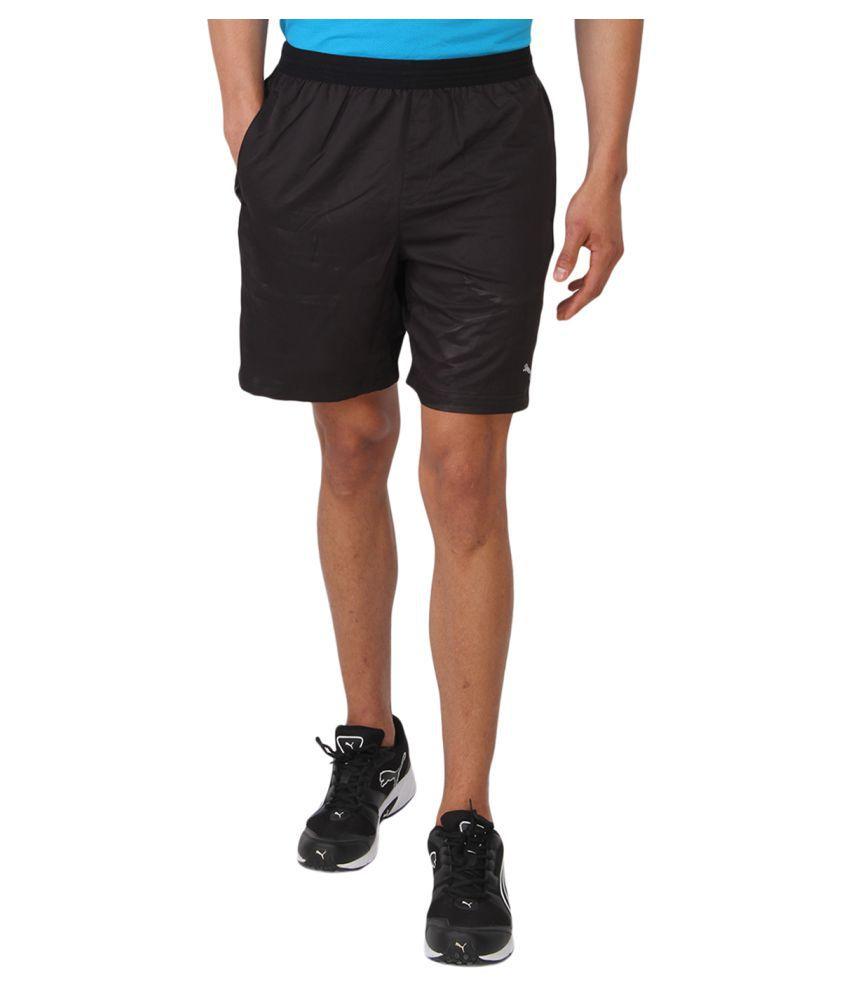 Puma Men Solid Black Shorts