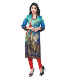 Innova Fabrics Tailor Multicoloured Crepe Printed Semi Stitched Kurti - 633634416964