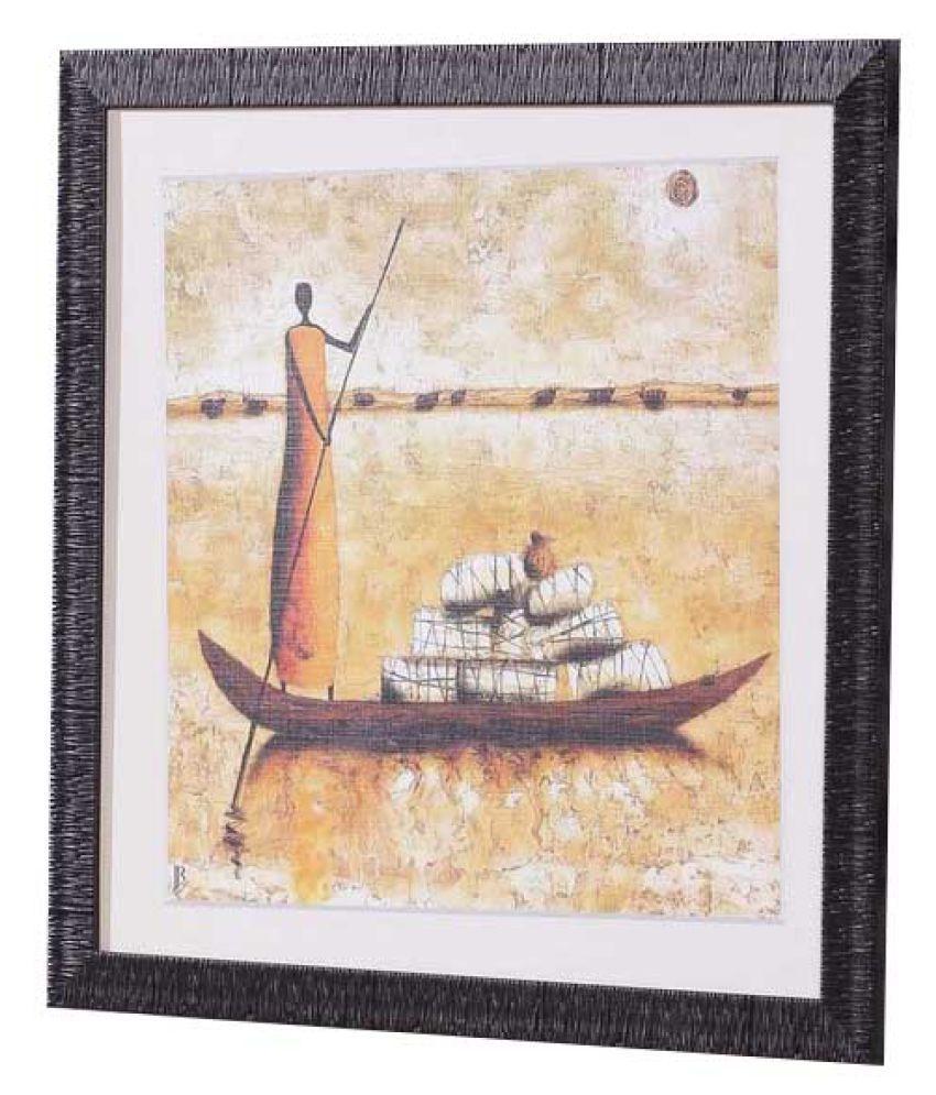 Angel Decor Rajputi art Wood Painting With Frame Single Piece