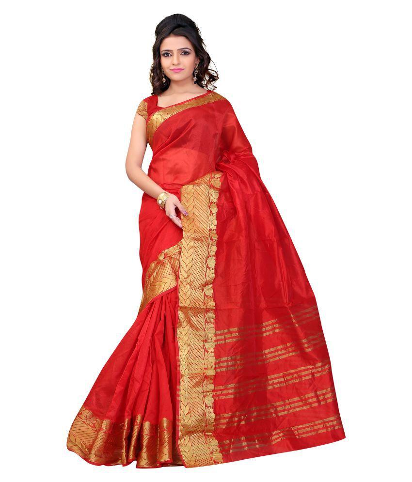 Jayant Creation Red Art Silk Saree
