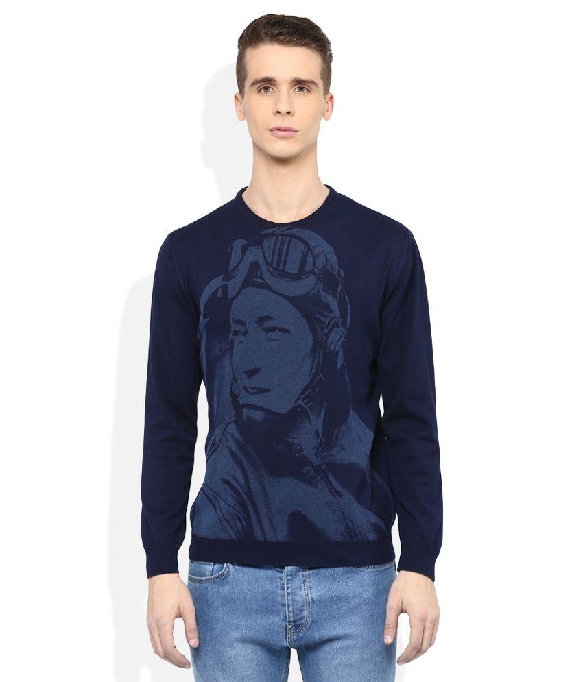 Wills Lifestyle Blue Round Neck Printed T-Shirt