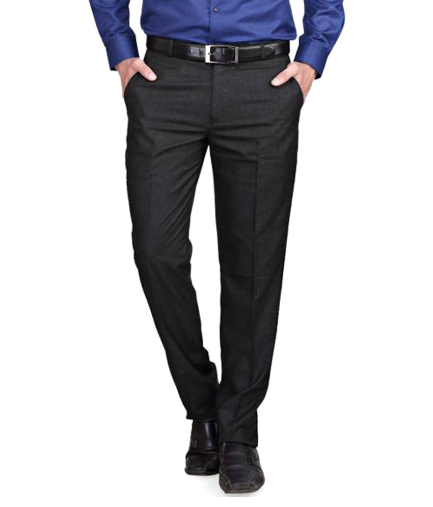RG Designers Black Regular Flat Trouser