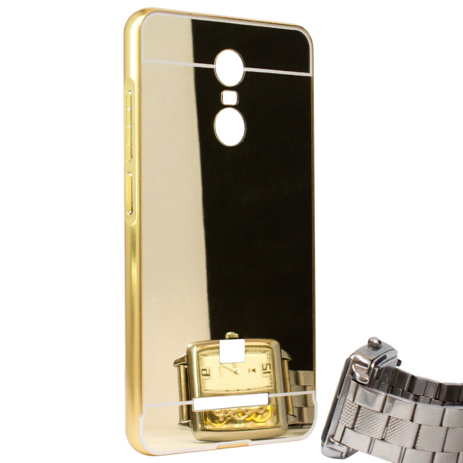 Aart Luxury Metal Bumper + Acrylic Mirror Back Cover Case For Redmi Note 3  Gold + Flexible Portable Thumb OK Stand