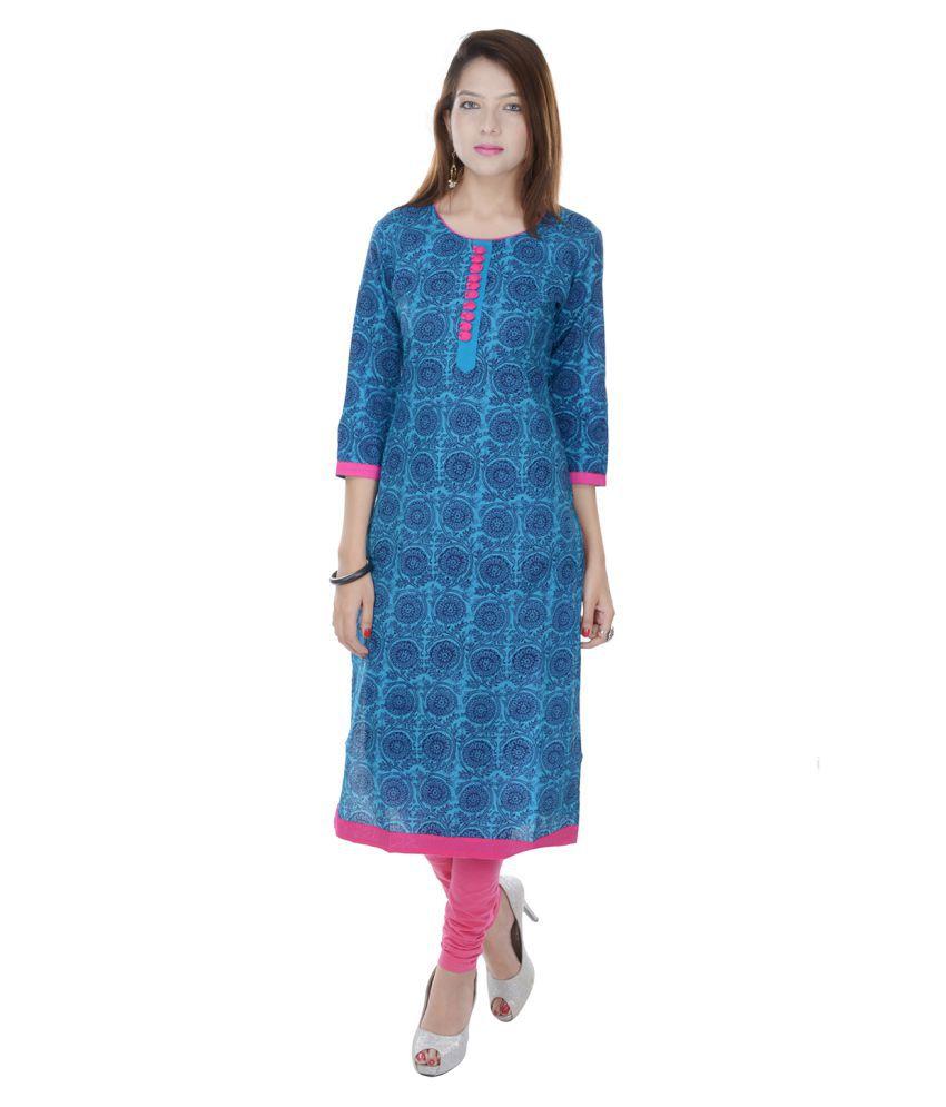 Fab Rajasthan Blue Cotton Straight Kurti