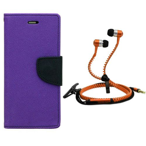 Aart Wallet Flip Case Back Cover For One Plus One One Plus Two-(Purple) + Zipper Hands free for all Mobiles By Aart store
