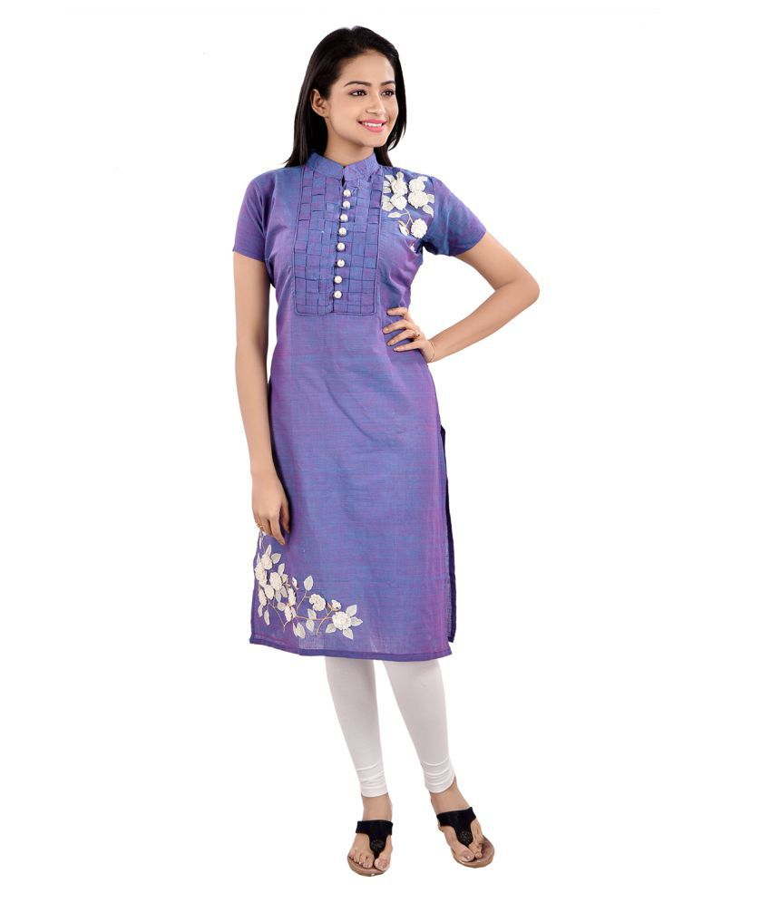FRNS Purple Cotton Straight Kurti