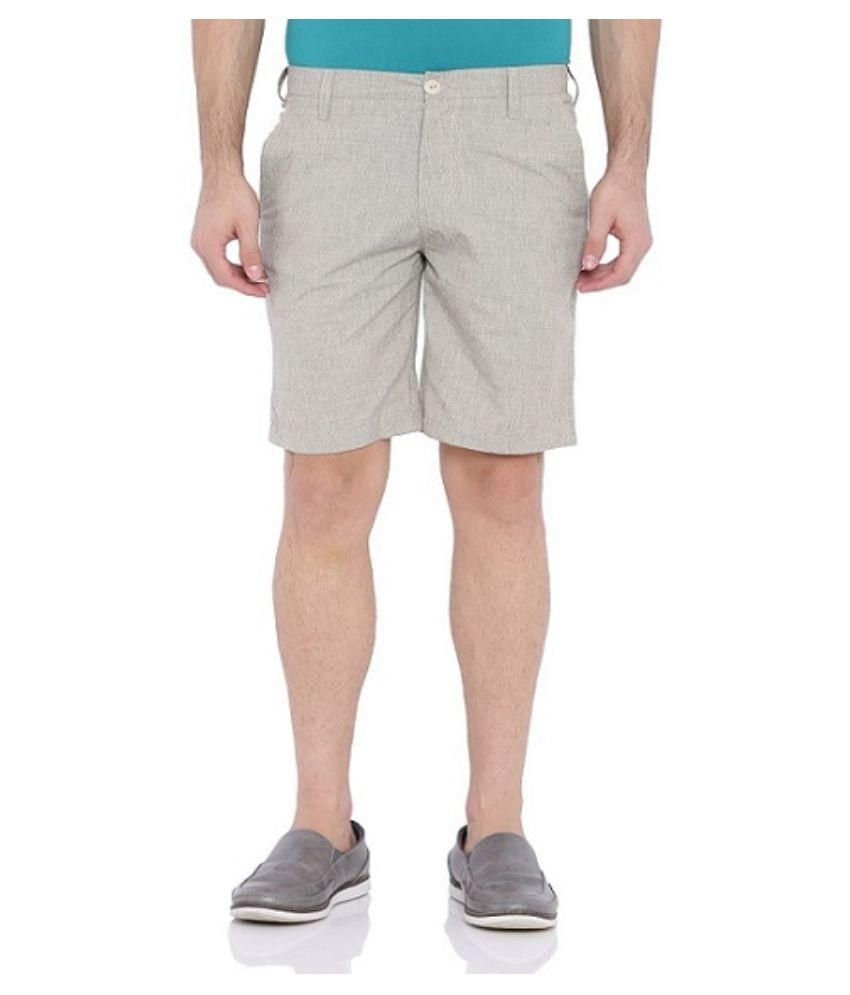 Blue Wave Tan Cotton Blend Shorts