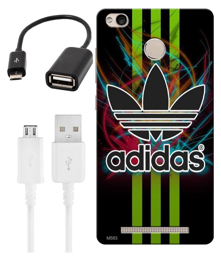 Finest Combo Of Adidas Wallpaper HD UV Printed Mobile Back Cover Charging Cable And OTG