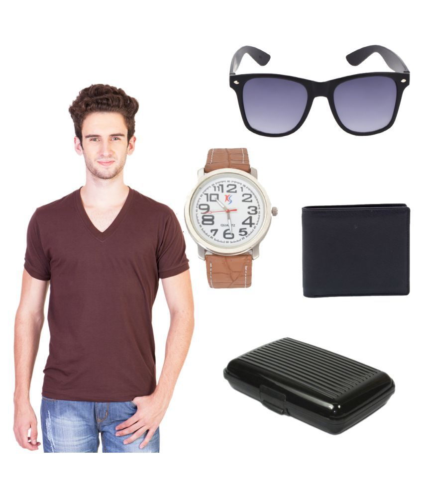Keepsake Brown V-Neck T-Shirt with Wallet, Cardholder, Watch and Sunglass