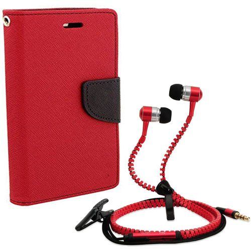 Aart Wallet Flip Case Back Cover For Redmi Note-(Red) + Zipper Hands free for all Mobiles By Aart store