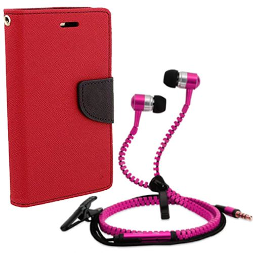 Aart Wallet Flip Case Back Cover For HTC 626-(Red) + Zipper Hands free for all Mobiles By Aart store