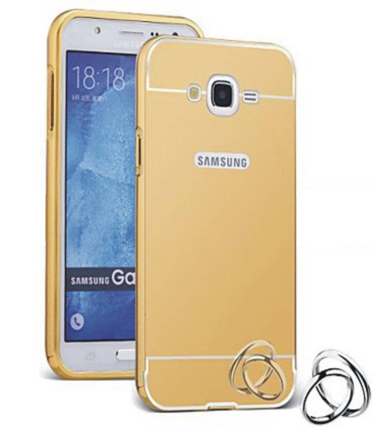Aart Luxury Metal Bumper + Acrylic Mirror Back Cover Case For SamsungJ-1  Gold + Flexible Portable Thumb OK Stand