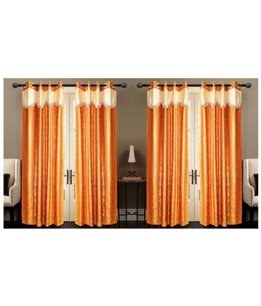 New Ladies Zone Set of 4 Window Eyelet Curtains Floral Orange