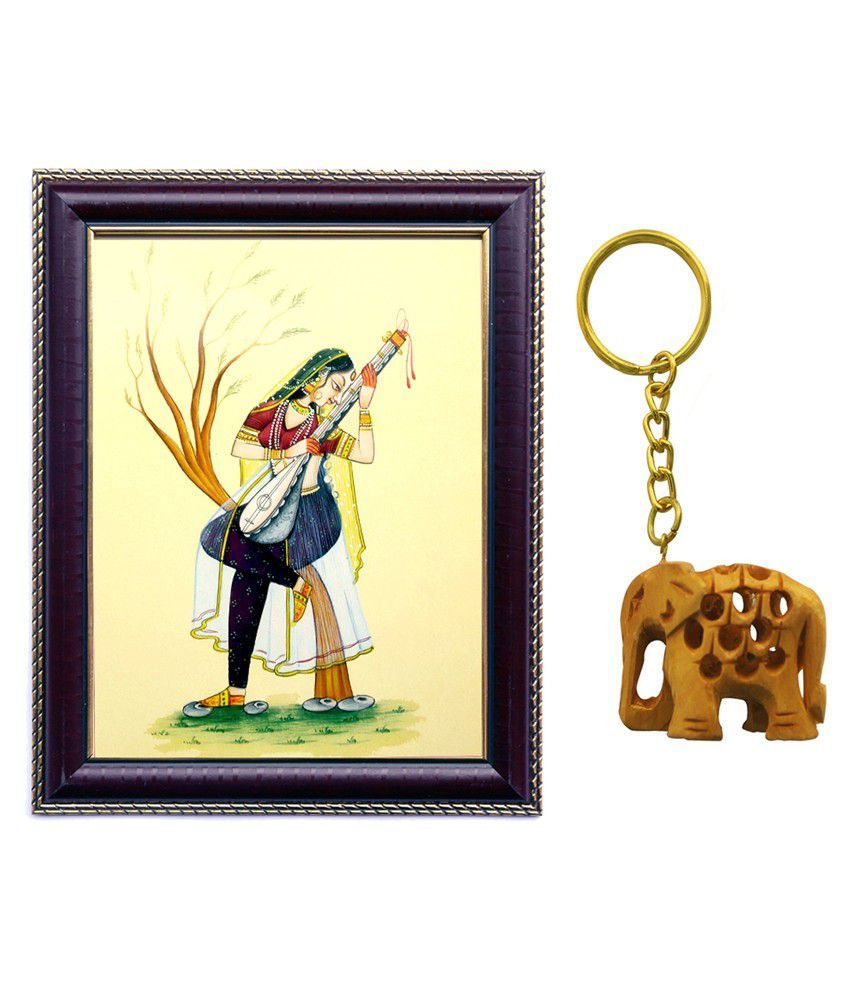 Janki Rajasthani Beautiful Lady Art Wall Painting Gift for Room Combo Wood Art Prints With Frame 2 combination and Keychain