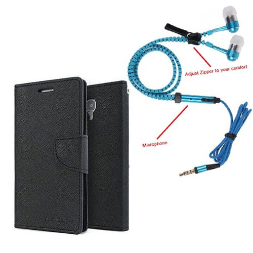 Wallet Flip Case Back Cover For Samsung Note new-(Black) + Zipper Hands free for all Mobiles By StyleCrome store