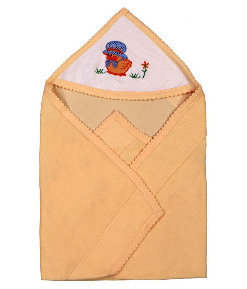 Brim Hugs & Cuddles Beige Cotton Wrapper Baby Blanket/Baby Swaddle/Baby Sleeping Bag