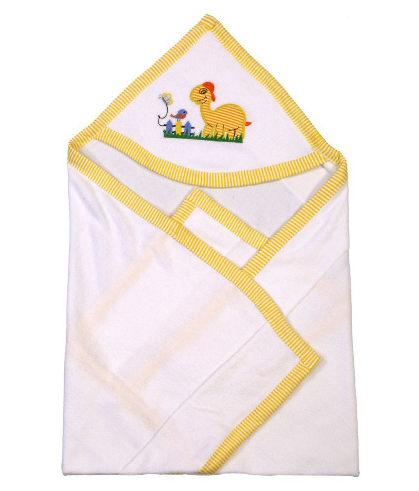 Brim Hugs & Cuddles White Cotton Baby Soft Wrapper Baby Blanket/Baby Swaddle/Baby Sleeping Bag