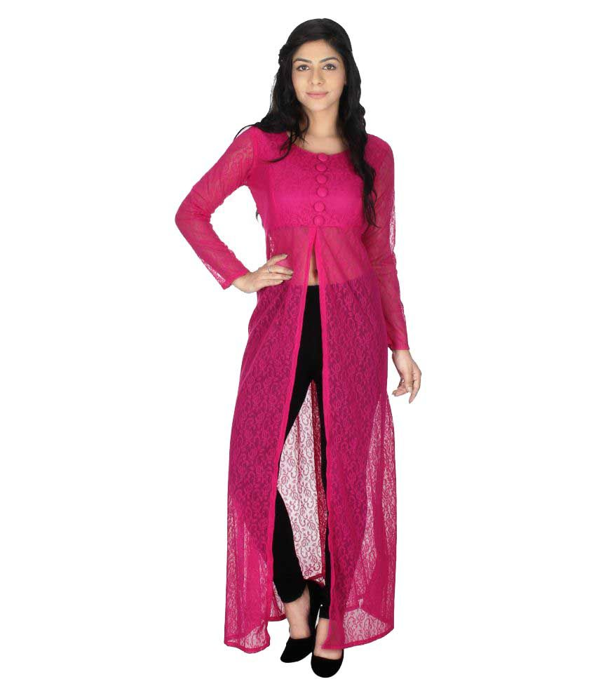136e0d13f6b Maxi Fashion Pink Net Straight Kurti - Buy Maxi Fashion Pink Net Straight  Kurti Online at Best Prices in India on Snapdeal