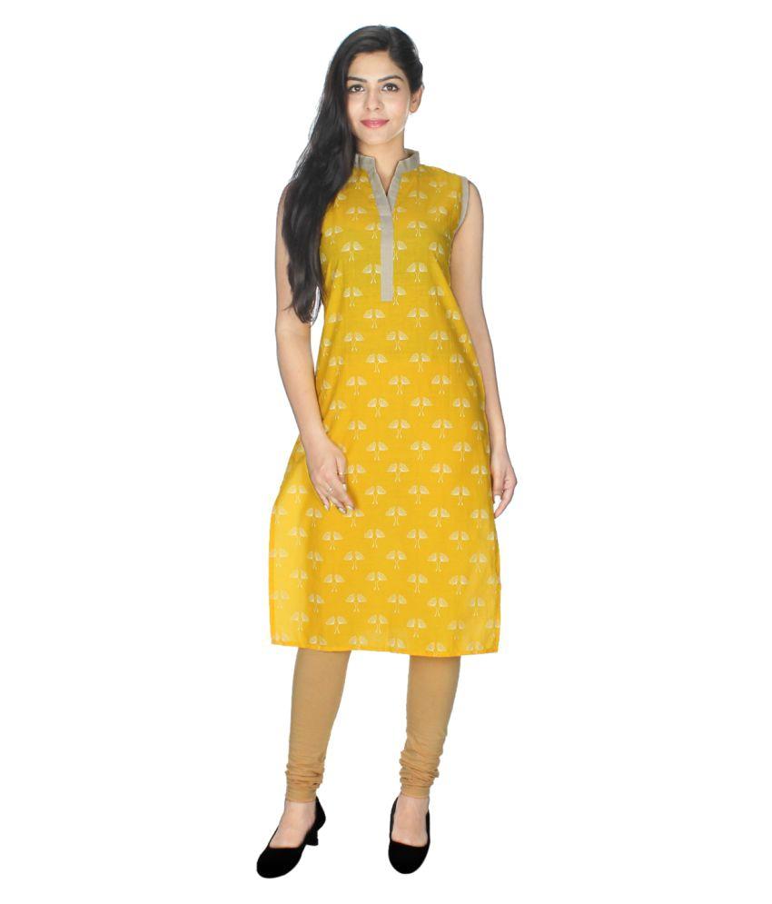 Maxi Fashion Yellow Cotton Straight Kurti
