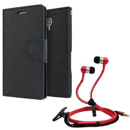 Wallet Flip Case Back Cover For Samsung Z1-(Black) + Zipper Hands free for all Mobiles By StyleCrome store