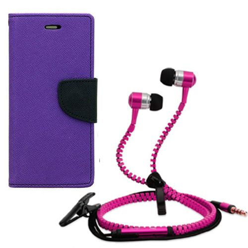 Wallet Flip Case Back Cover For micromax A210-(Purple) + Zipper Hands free for all Mobiles By StyleCrome store
