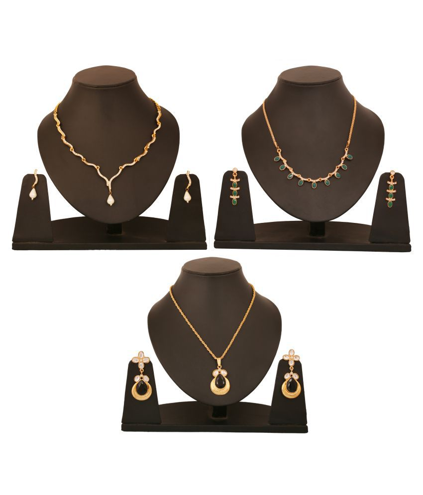Touchstone Golden Designer Necklace Set