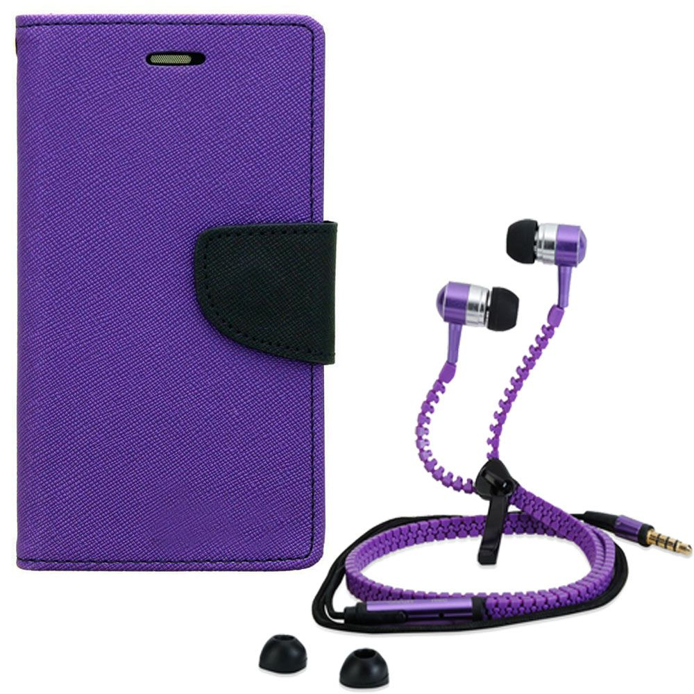 Wallet Flip Case Back Cover For Sony Xperia T3-(Purple) + Zipper Hands free for all Mobiles By StyleCrome store