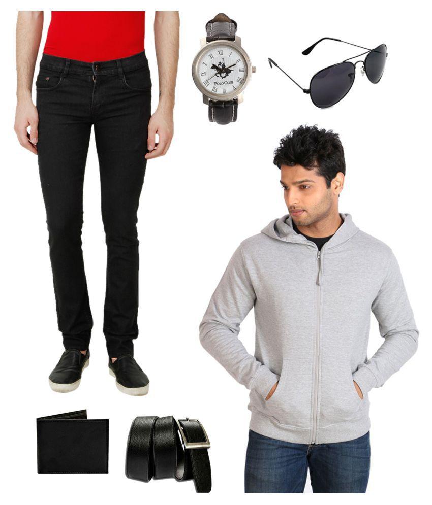 Ansh Fashion Wear Black Slim Solid