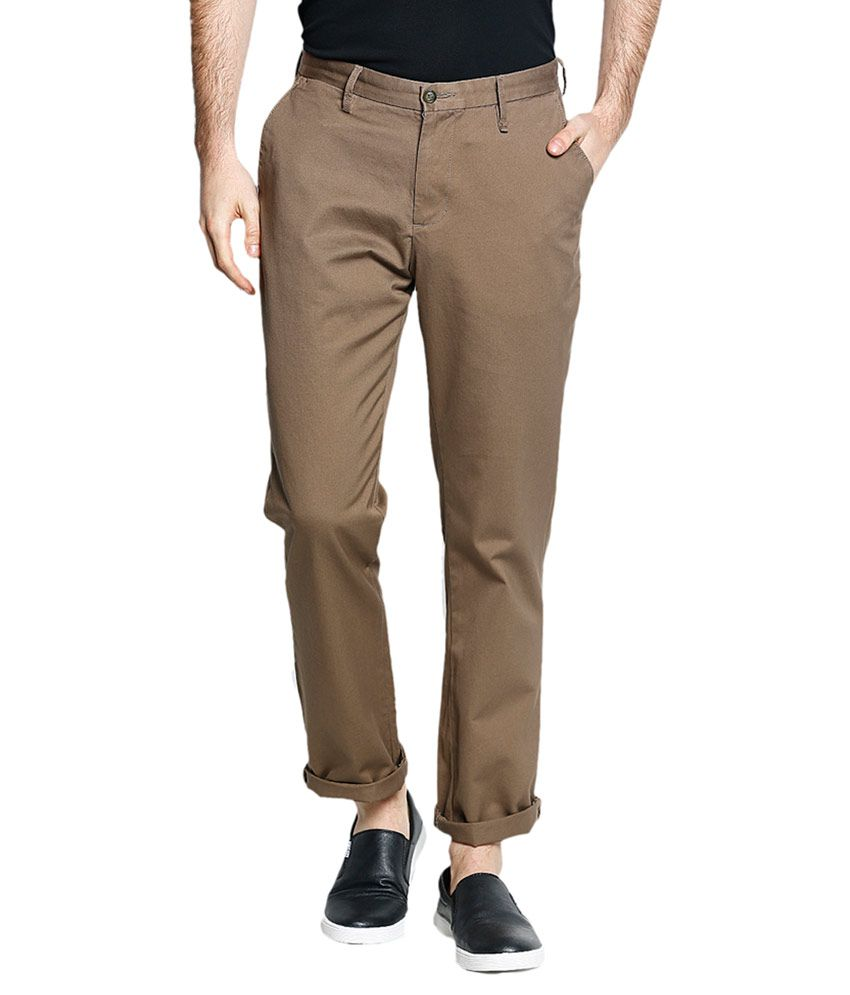 Blackberrys Brown Regular Flat Chinos