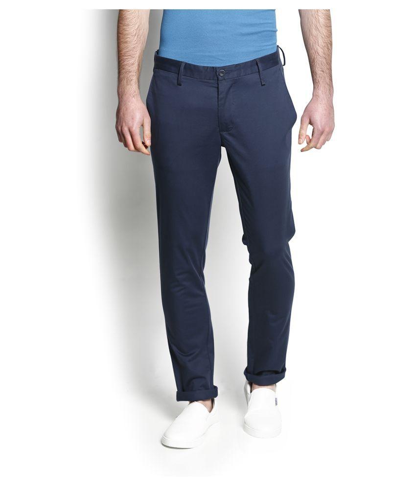 Blackberrys Navy Blue Slim Flat Trouser