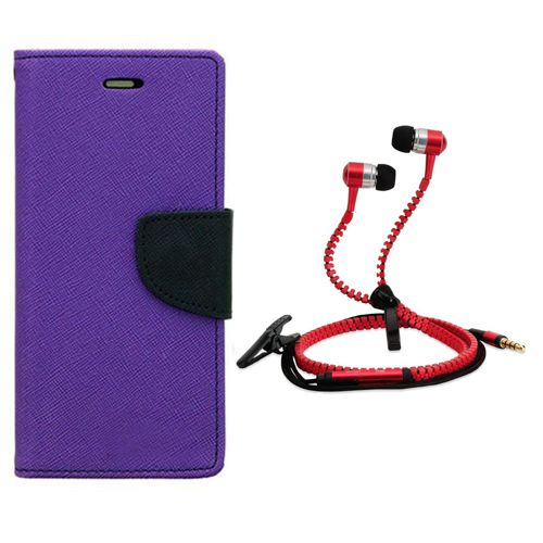 Wallet Flip Case Back Cover For Lenovo A6000-(Red) + Zipper Hands free for all Mobiles By StyleCrome store