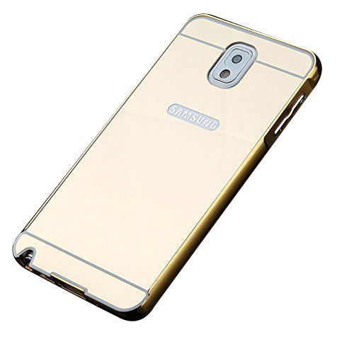 Style Crome Metal Bumper + Acrylic Mirror Back Cover Case For Samsung NOTE 3 Gold + Flexible Portable Thumb OK Stand