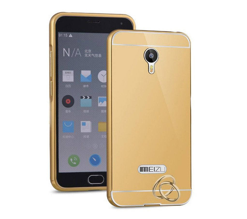 Style Crome Metal Bumper + Acrylic Mirror Back Cover Case For meizummeizum2  Gold + Flexible Portable Thumb OK Stand