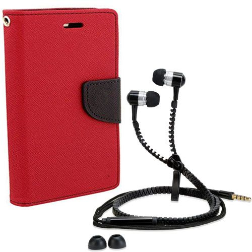 Wallet Flip Case Back Cover For Samsung J2-(Red) + Zipper Hands free for all Mobiles By StyleCrome store