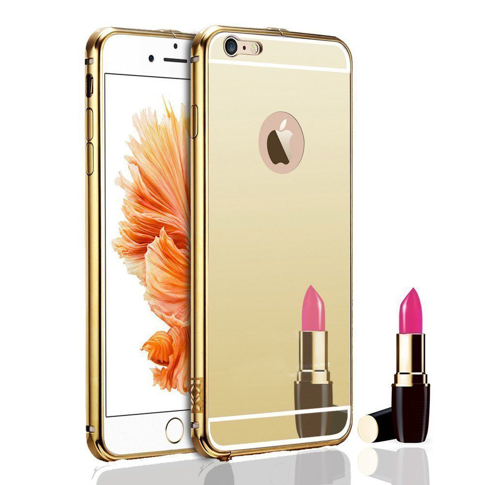 Style Crome Metal Bumper + Acrylic Mirror Back Cover Case For Apple5G Gold + Flexible Portable Thumb OK Stand