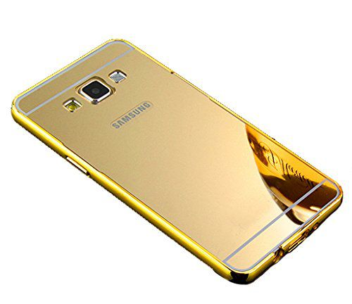 Style Crome Metal Bumper + Acrylic Mirror Back Cover Case For Samsung ON7 Gold + Flexible Portable Thumb OK Stand