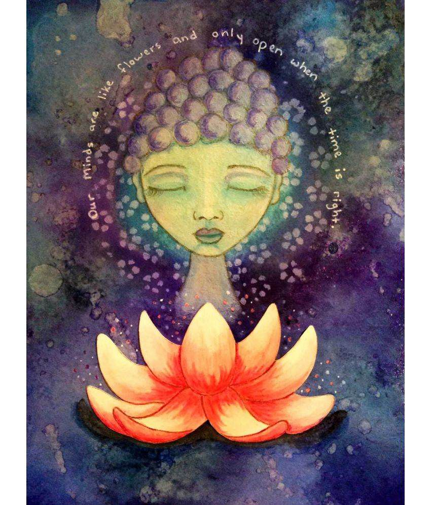 Tallenge  Watercolor Painitng - Lotus Buddha  Canvas Art Prints Without Frame Single Piece