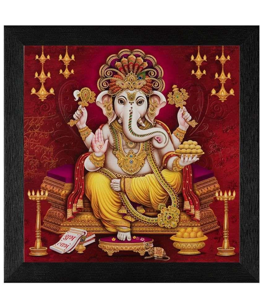 JAF Religious Ganesha Wood Art Prints With Frame Single Piece