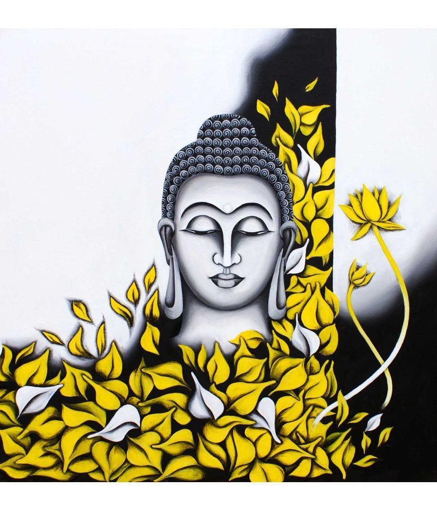 Tallenge Oil Peaceful Buddha Amidst Yellow Leaves Canvas Art Prints Without Frame Single Piece