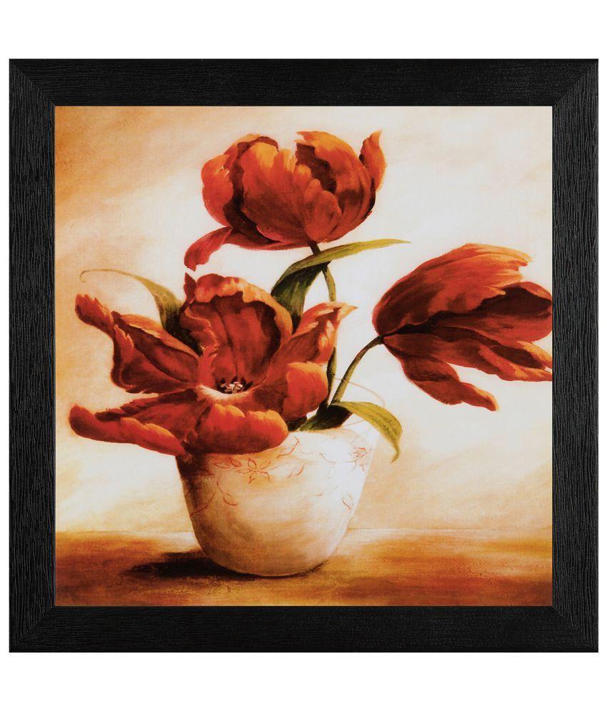 JAF Floral Wood Art Prints With Frame Single Piece