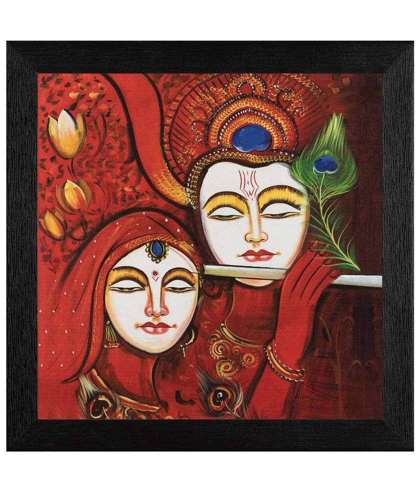 JAF Radha Krishna Wood Art Prints With Frame Single Piece