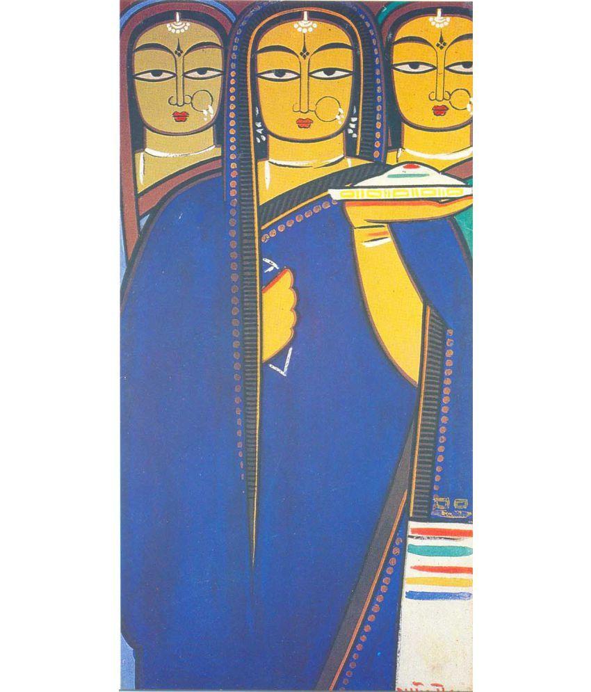 Tallenge Jamini Roy - Three Pujarins Canvas Art Prints Without Frame Single Piece