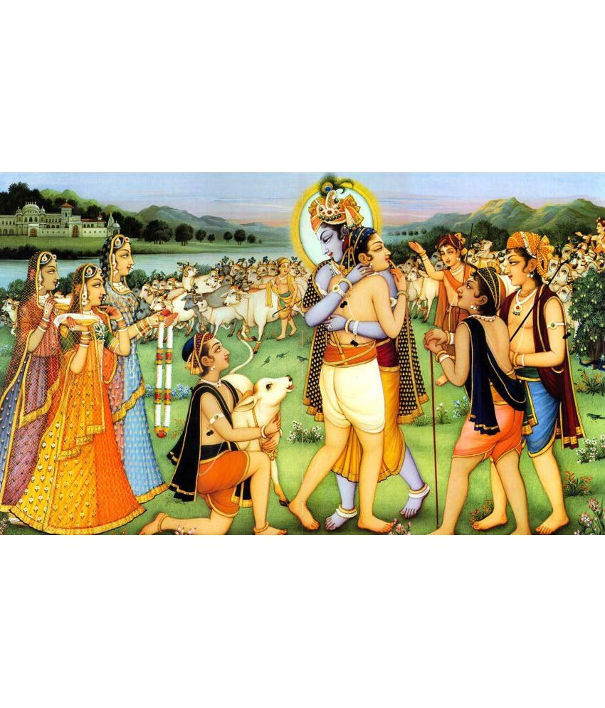 Tallenge Lord Krishna Unites With Sudama At Vrindavan- Krishna Collection Canvas Art Prints Without Frame Single Piece