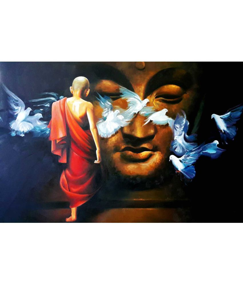 Tallenge Acrylic Buddha And The Boy Monk Canvas Art Prints Without Frame Single Piece