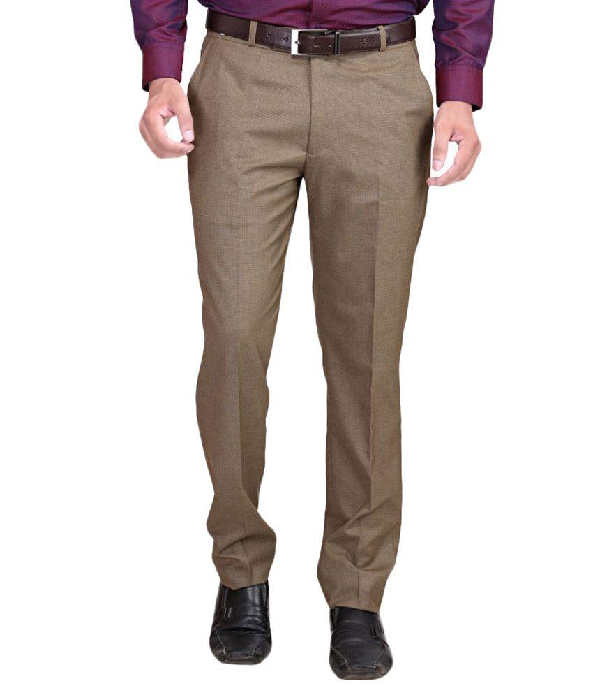 RG Designers Brown Regular Flat Trouser