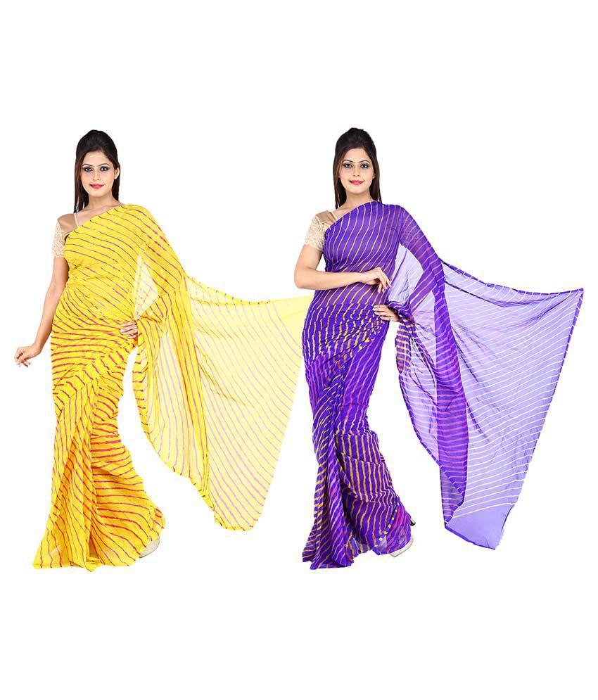 JBK Arts Multicoloured Chiffon Saree Combos
