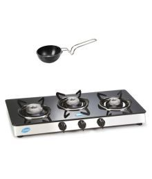 Glen GL 1033 GT 3 Burner Glass Cooktp With Alda Tadka PAN 10 Cm