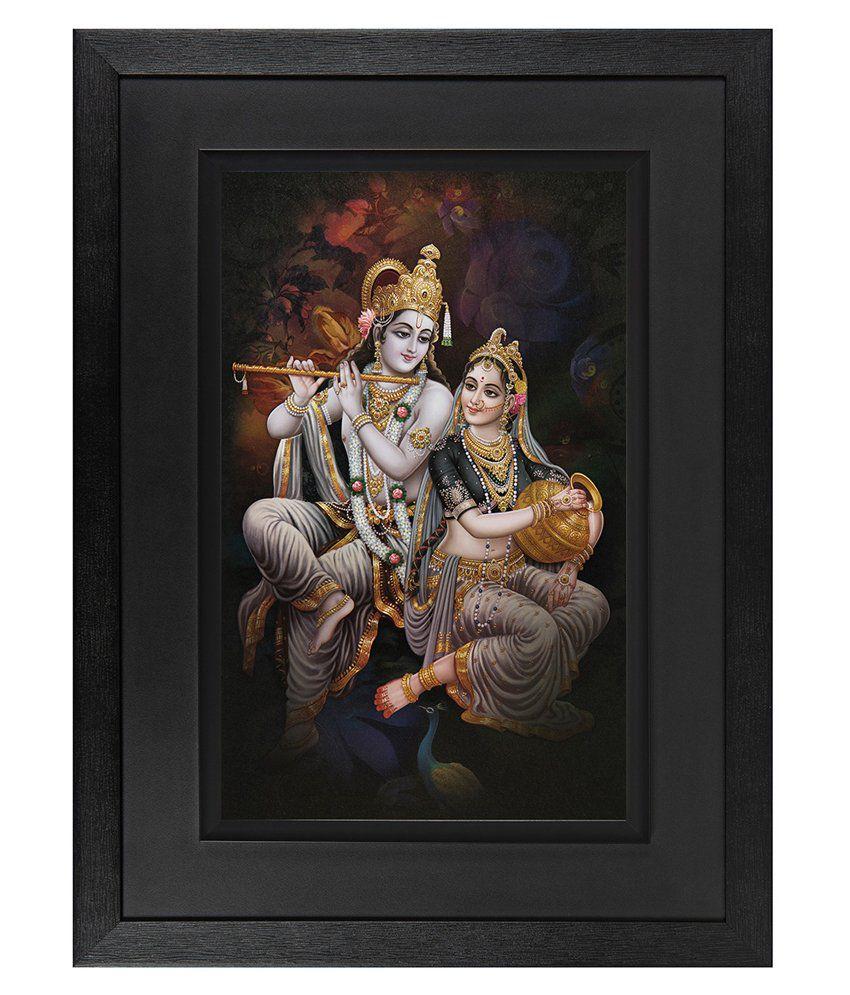 JAF Wood Radha Krishna Art Prints With Double Frame Single Piece