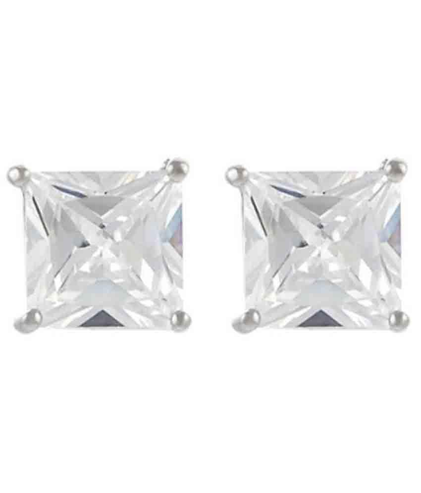 Mahna Jewellers 92.5 Silver Zircon Studs